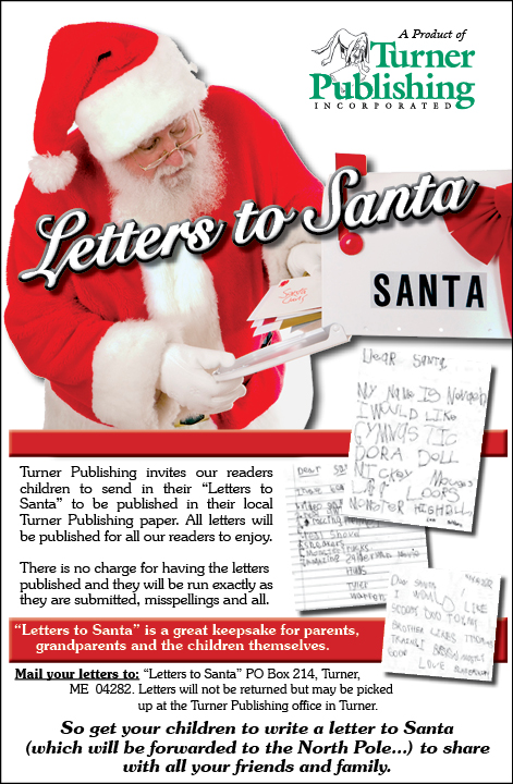 Write to santa maine news turner have a young one who has written a letter to santa turner publishing invites children to ask an adult to submit their letter to santa to be spiritdancerdesigns Choice Image