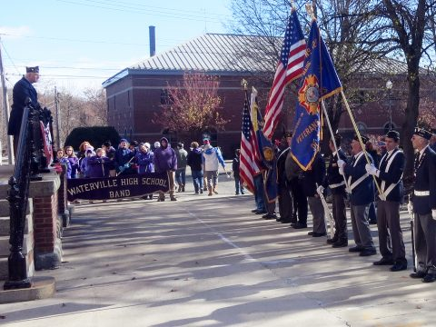 Veterans Day parade and ceremony in Waterville, Maine