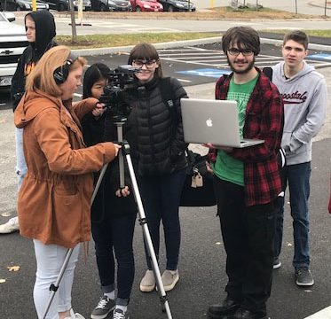 Lewiston Regional Technical Center students work on the opening shot in their video tour of the Lewiston High School campus. (Submitted photo)